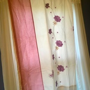 Neisha Cotten pink/purples embroidered curtains.